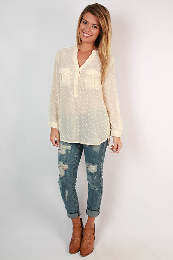 Santorini Vacation Top in Cream