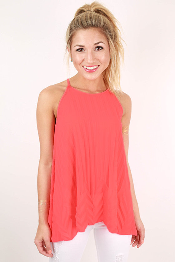 My Best Behavior Tank in Neon Pink