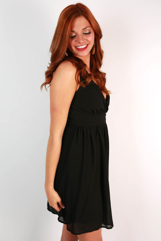 Time For Fun Open Back Dress in Black