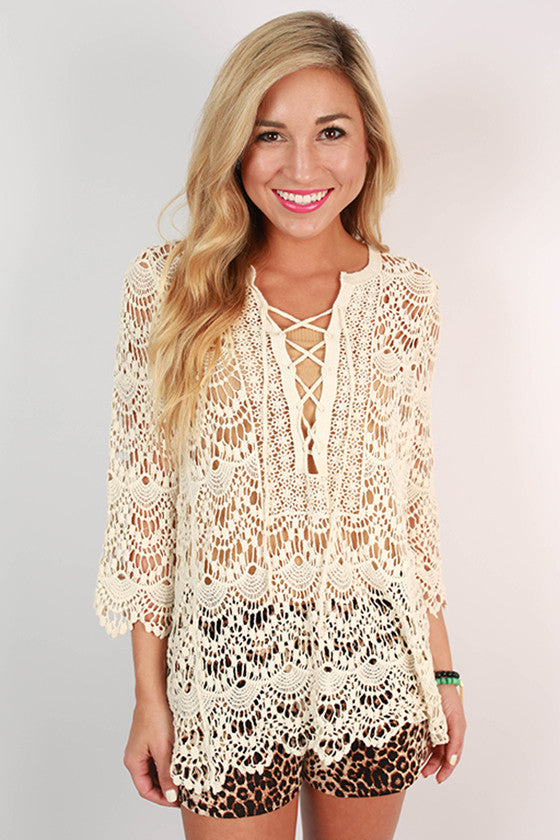 A Step Ahead Crochet Top in Ivory