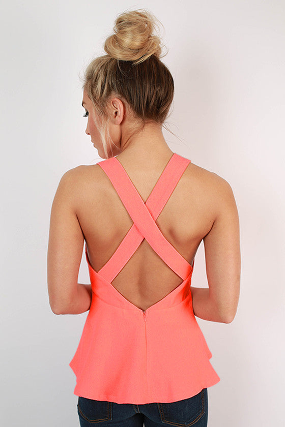 Love You Madly Peplum Tank in Neon Peach