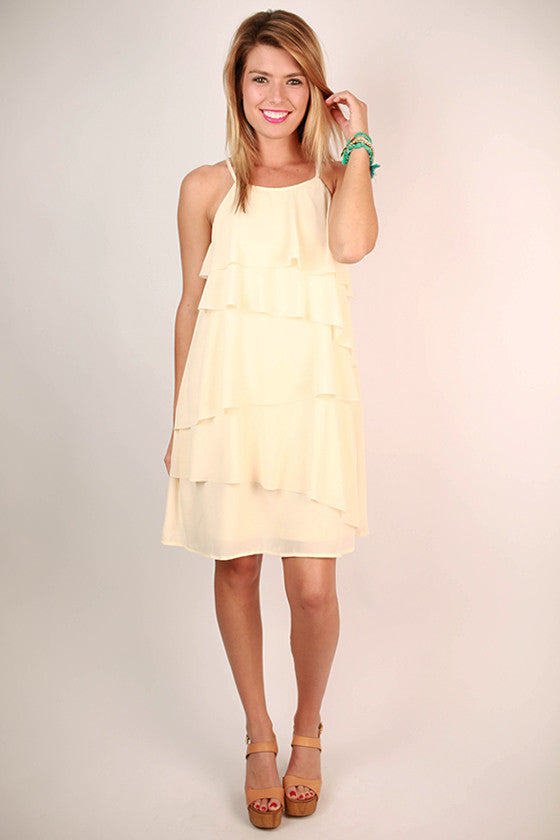 Ruffle It Up Dress in Cream