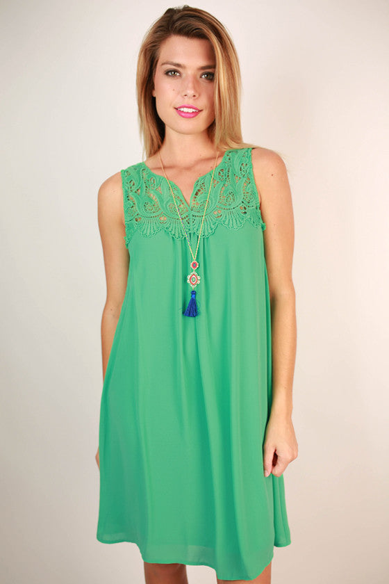 Born Beautiful Crochet Shift Dress in Jade