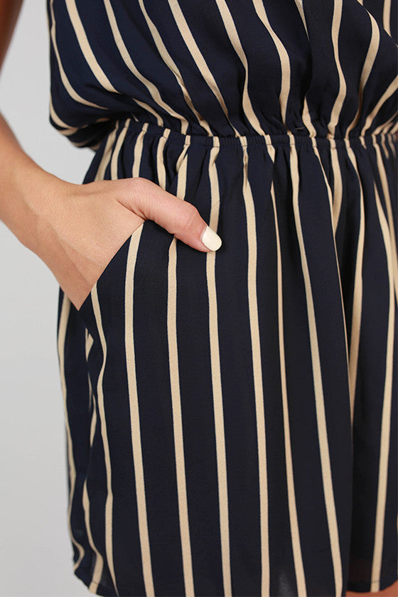 Fashionably Late Stripe Romper in Navy