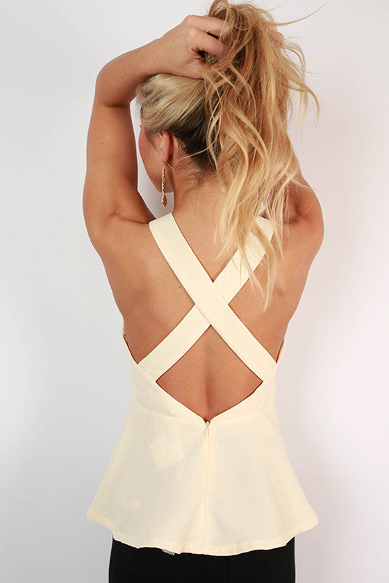 Love You Madly Peplum Tank in Cream