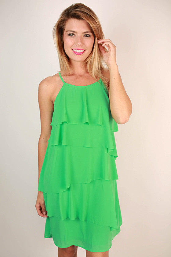 Ruffle It Up Dress in Jade