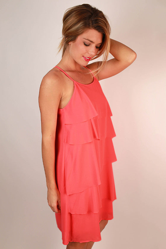 Ruffle It Up Dress in Neon Pink