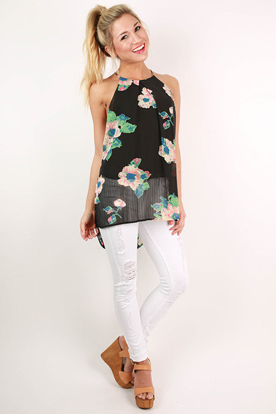 Something Pretty Floral Hi-Lo Tank in Black