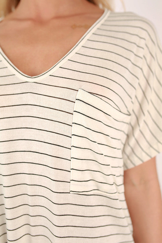 On The Boardwalk Stripe V-Neck Tee in Ivory
