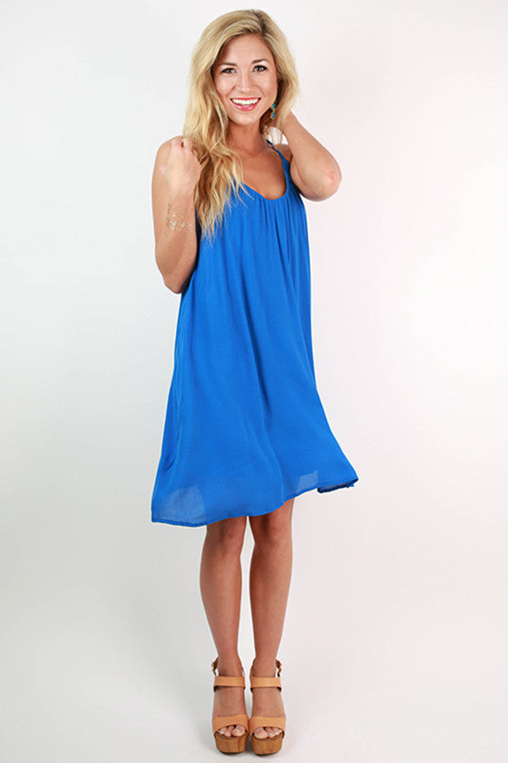 Violet Beauty Tank Dress in Blue