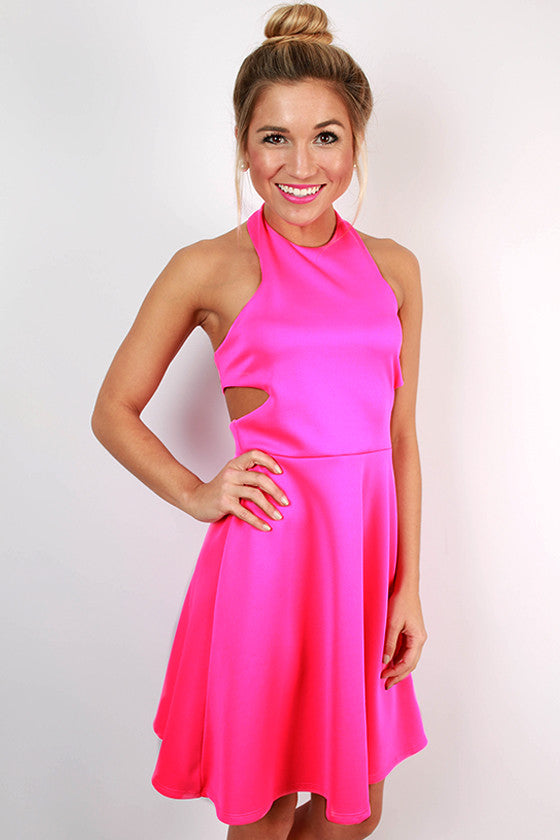 Sunset Sipping Halter Flare Dress in Hot Pink