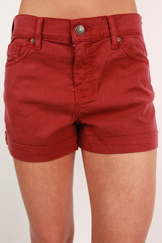 Basic Cuff Shorts in Ruby Wine
