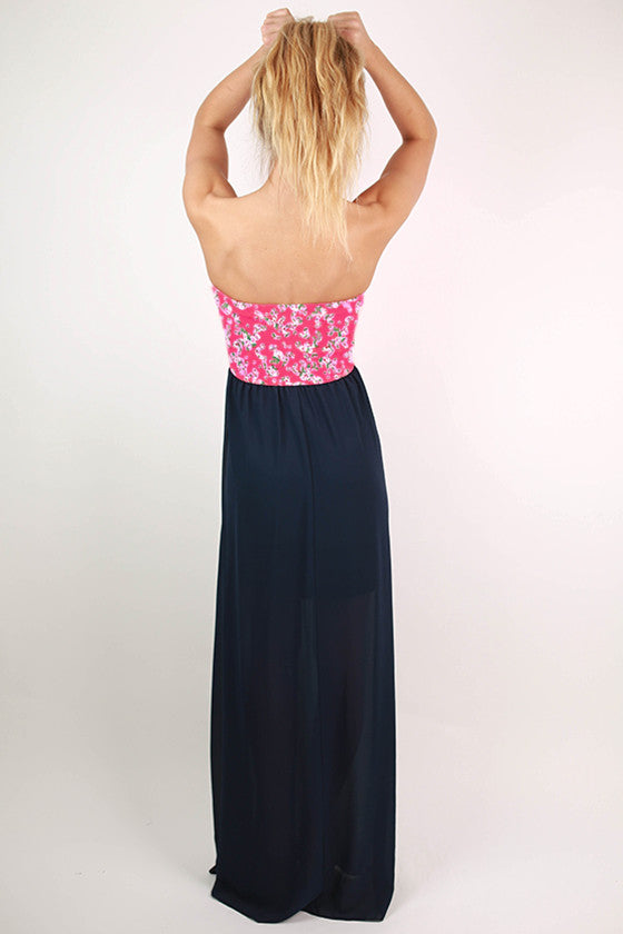 Floral Lovely Maxi Dress in Navy