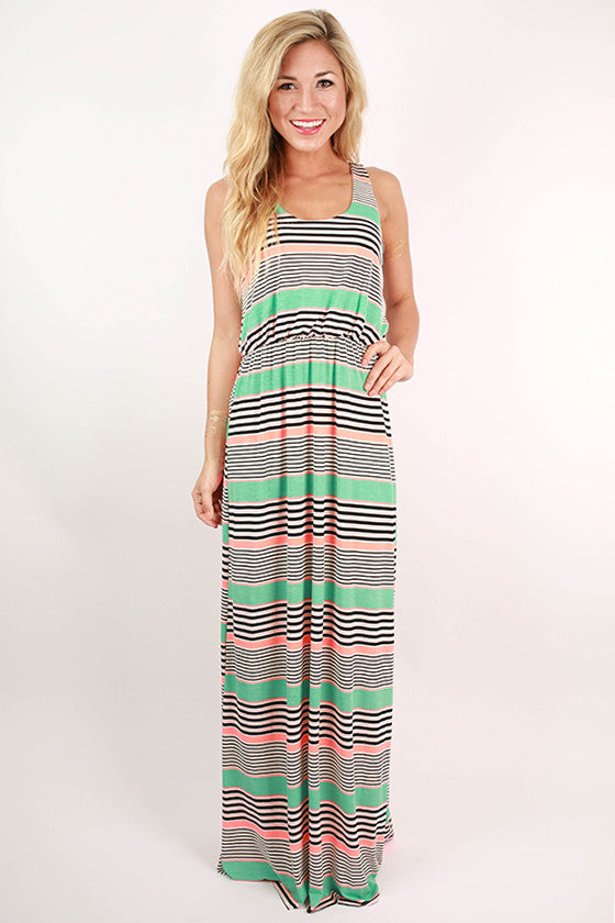 Hey Sugar In Stripes Maxi Dress in Coral