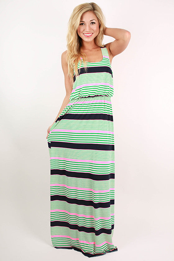 Hey Sugar in Stripes Maxi Dress in Pink