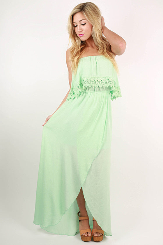 Captivate Me Strapless Maxi Dress in Mint