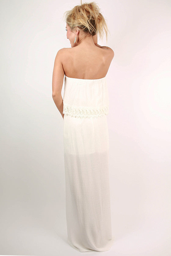 Captivate Me Strapless Maxi Dress in White