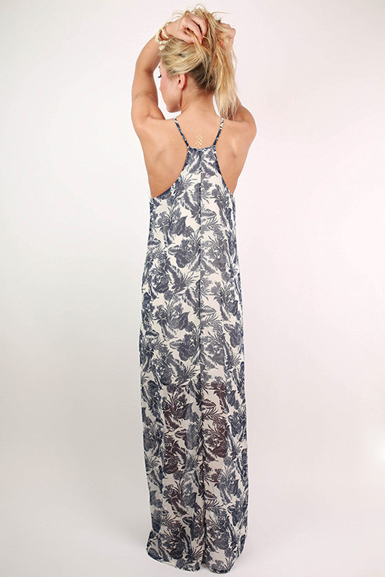 Vacation To Hawaii Floral Maxi Dress in Navy