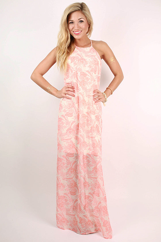 Vacation To Hawaii Floral Maxi Dress in Peach