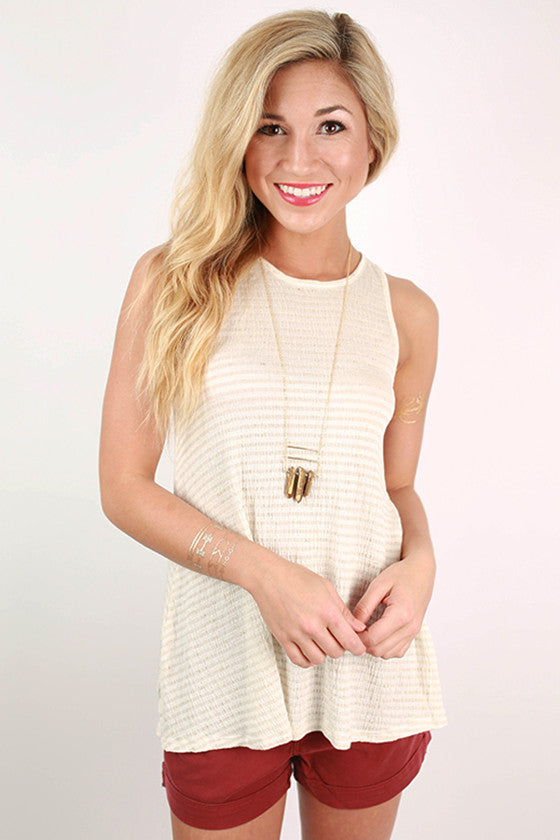 Swanky In The City Stripe Tank in Stone