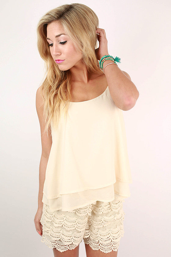 Travel The World Crochet Romper in Cream