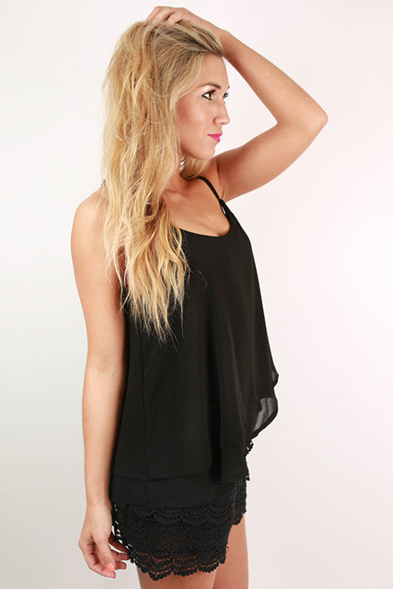 Travel The World Crochet Romper in Black