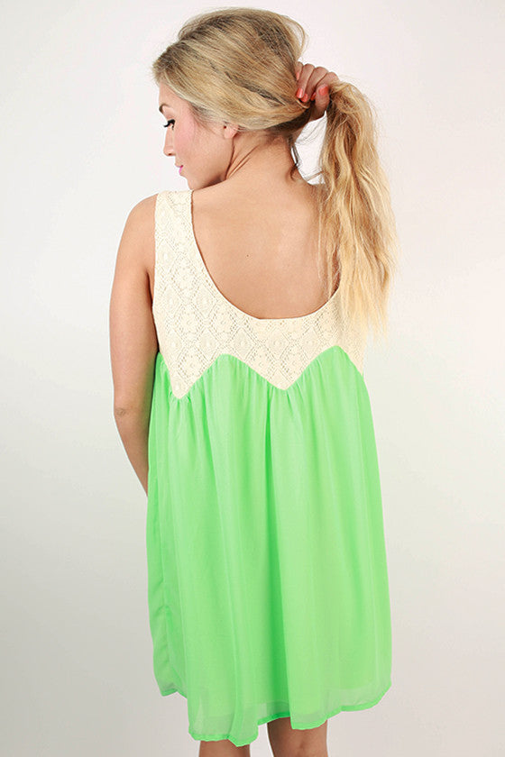 Good Faith Shift Dress in Neon Lime