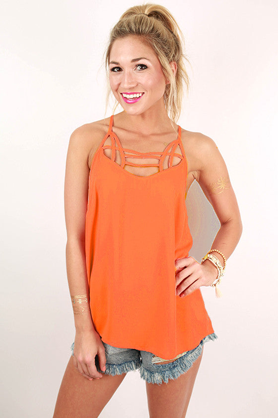 Winery Days Spaghetti Strap Tank in Coral