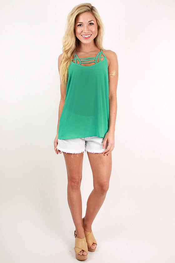 Winery Days Spaghetti Strap Tank in Turquoise