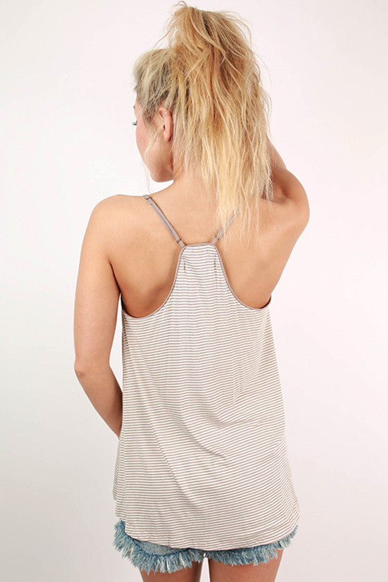 Sungazing in Stripes Tank in Taupe