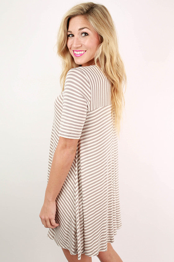 The Wayfarer Stripe Tunic Dress in Taupe