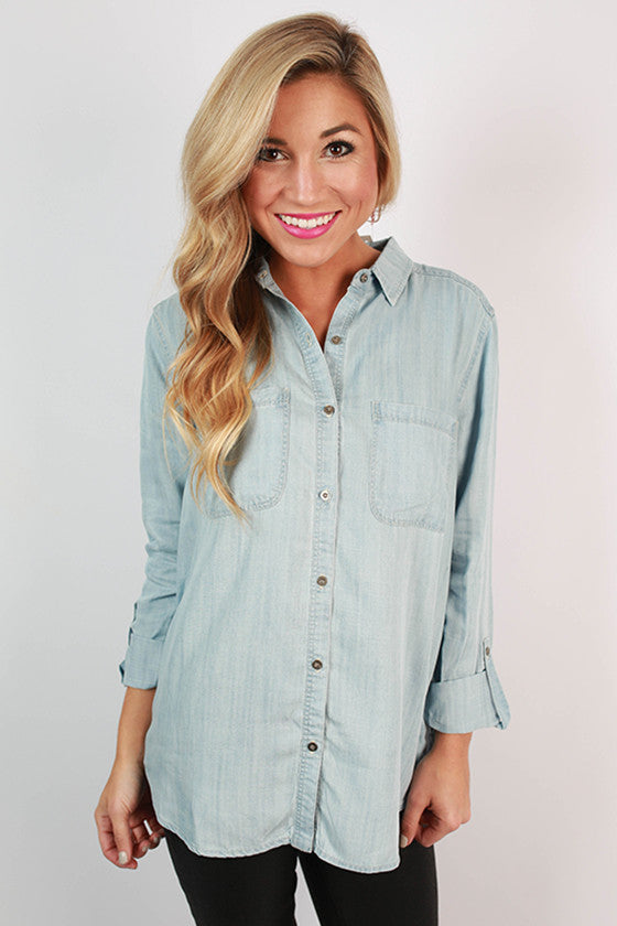 Seaside Escape Chambray Top in Light Blue