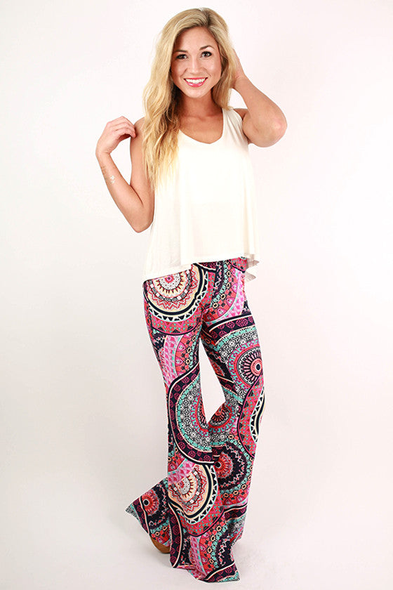Go With The Flow Print Pants in Navy