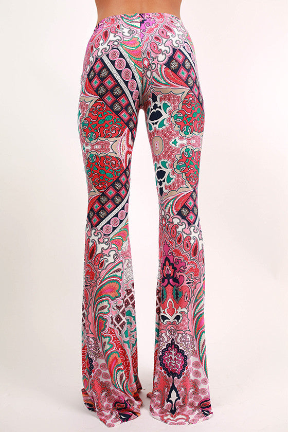 Go With The Flow Print Pants in Pink