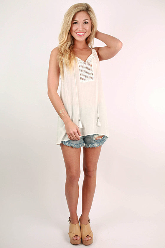 Yacht Life Crochet Tank in White