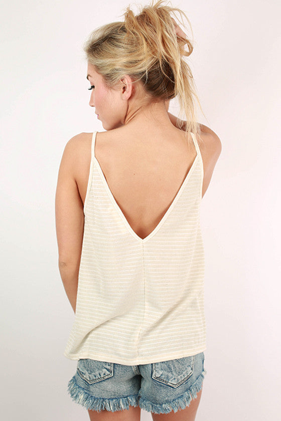 Out On A Whim Stripe V-neck Tank in Ivory