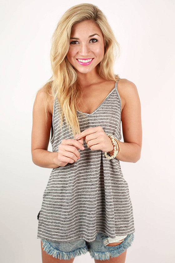 Out On A Whim Stripe V-Neck Tank in Dark Grey