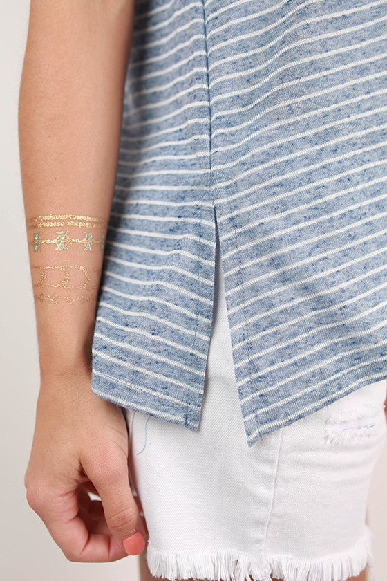 Out On A Whim Stripe V-Neck Tank in Blue