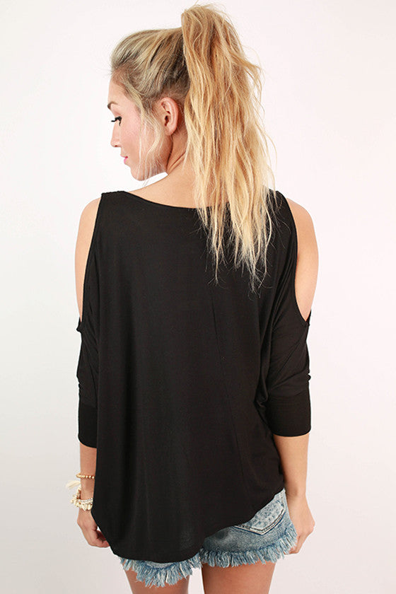 Perfect Timing Off Shoulder Top in Black