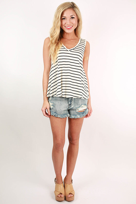 Rest & Relax Stripe Tank in Ivory