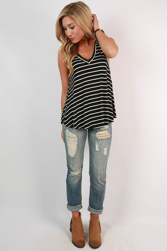 Rest & Relax Stripe Tank in Black