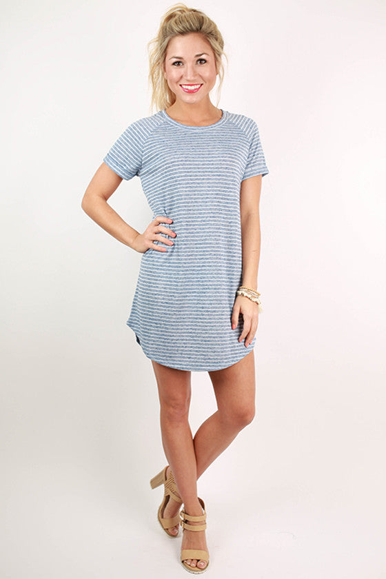 Ticket To Paradise Stripe Tunic in Blue