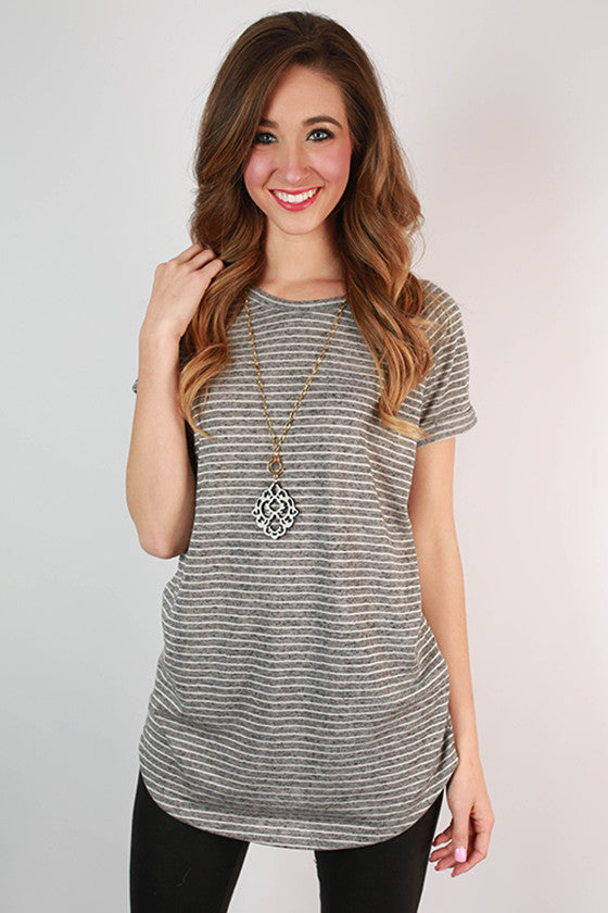 Ticket To Paradise Stripe Tunic in Dark Grey