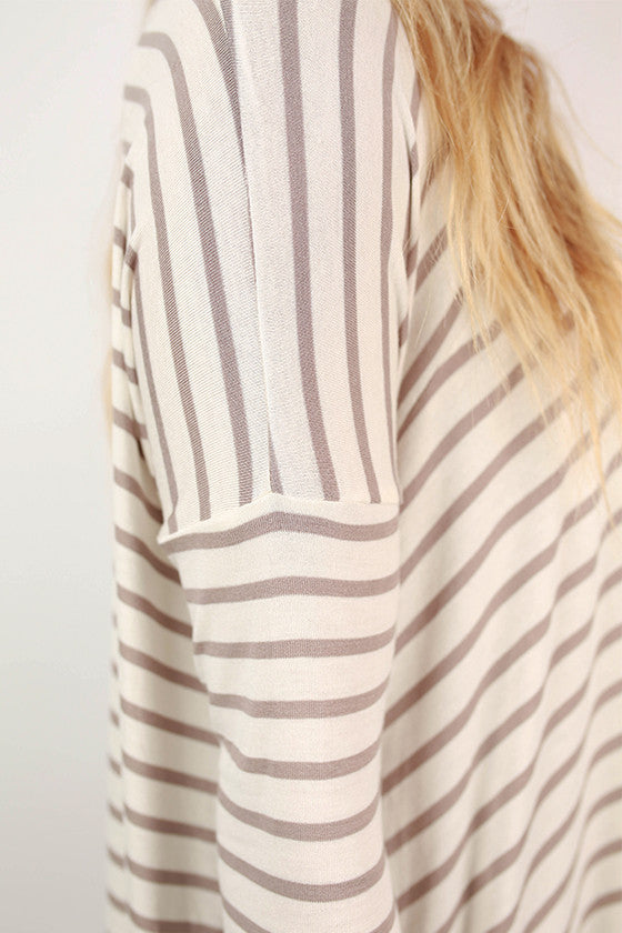 Told You So Stripe Top in Taupe