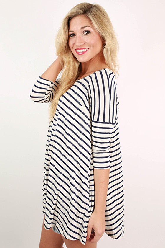 Told You So Stripe Top in Navy