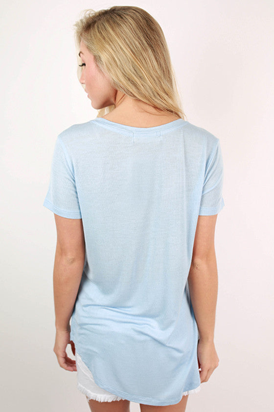 Let It Be V-Neck Basic Tee In Sky Blue