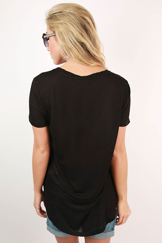 Let It Be V-Neck Basic Tee in Black