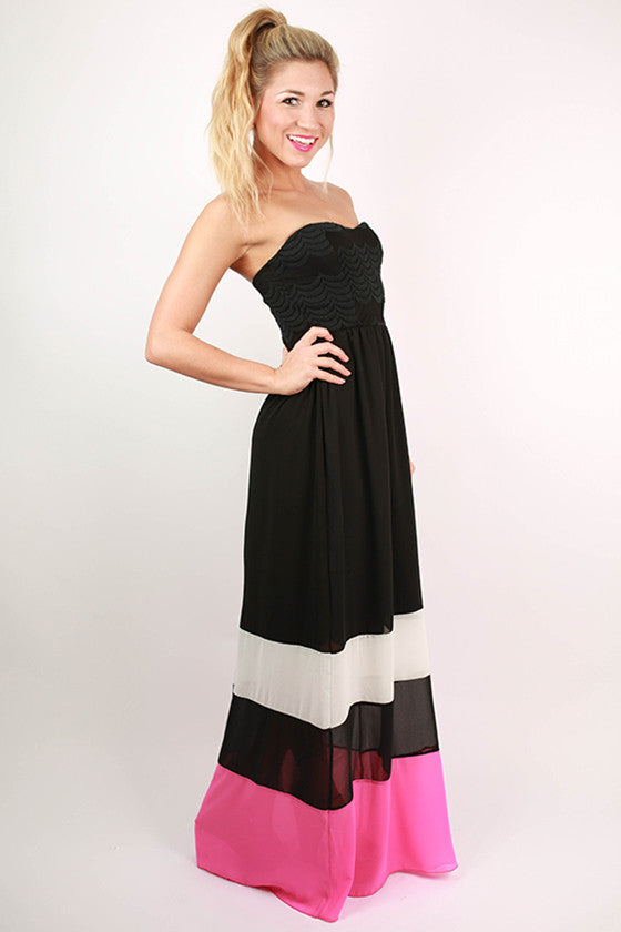 Off to the Hamptons Color Block Maxi Dress in Pink