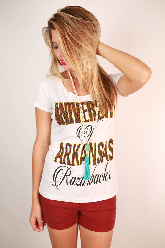 Leopard & Foil Scoop Tee University of Arkansas