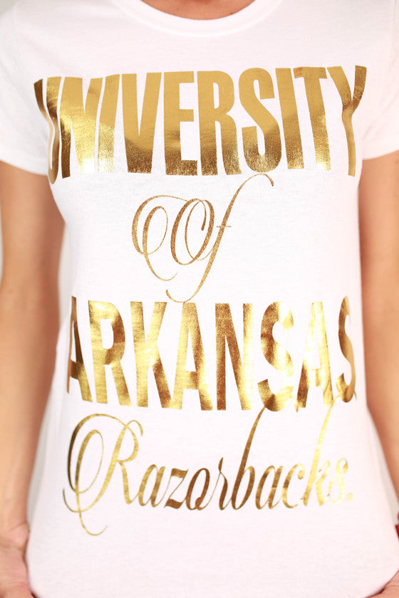 Metallic Foil Crew Tee University of Arkansas